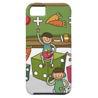 Boy and two girls sitting on dice with another iPhone 5 case
