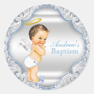 Boy Angel Baptism Christening Round Sticker