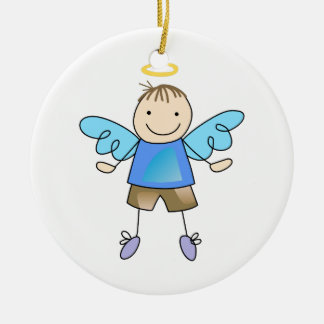 BOY ANGEL ROUND CERAMIC DECORATION