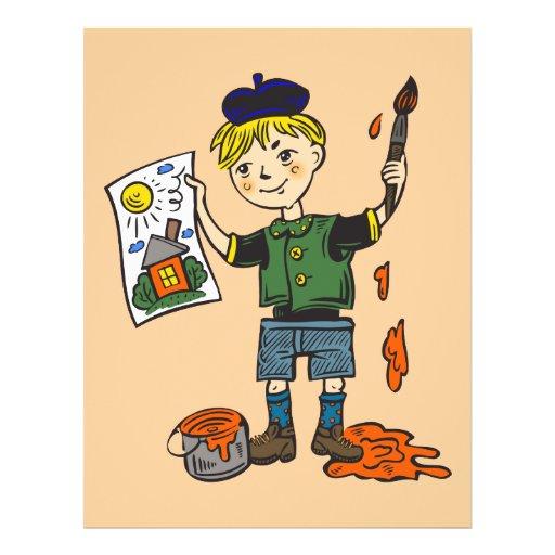 Boy Artist and Artwork 2 Full Color Flyer