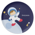 Boy Astronaut Kid's Personalised Plate