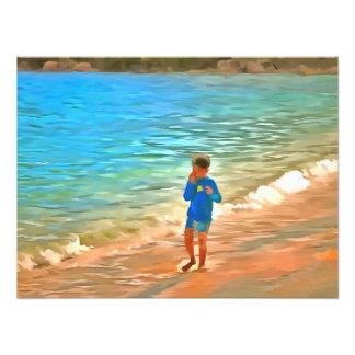 Boy at beach art photo