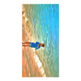 Boy at beach photo greeting card