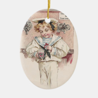 Boy at Soda Fountain Christmas Ornament