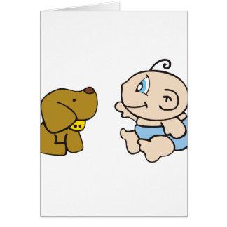 Boy Baby and Dog Greeting Card