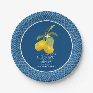 Boy Baby Boho Shower Farm Blue Lemon Flower Citrus Paper Plate