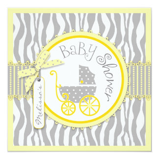 BOY Baby Carriage, Zebra Print, Yellow Baby Shower 13 Cm X 13 Cm Square Invitation Card