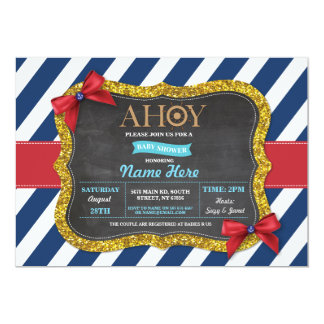 Boy Baby Shower Ahoy Bows Cute Stripe Blue Invite