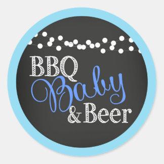Boy Baby Shower BBQ Baby Beer Classic Round Sticker