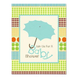 Boy Baby Shower Blue Umbrella & Boho Dots Card