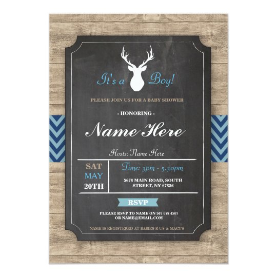 Boy Baby Shower Chalk Rustic Antler Stag Invite