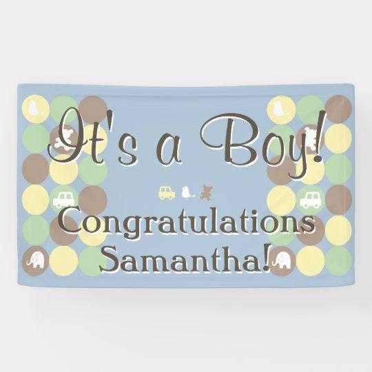 Boy Baby Shower Custom Printed Blue Brown Dots