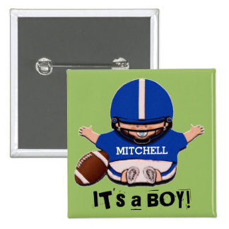 boy baby shower favours 15 cm square badge