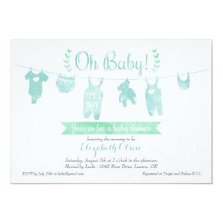 Boy Baby Shower Invitation - Bear Baby Laundry