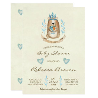 boy baby shower invitation woodland forest bear
