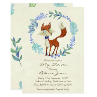 boy baby shower invitation woodland fox blue