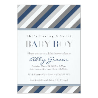 Boy Baby Shower Invitations, Navy, Gray 875 Card