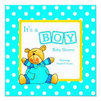 Boy Baby Shower Teal Blue Yellow Bear 13 Cm X 13 Cm Square Invitation Card