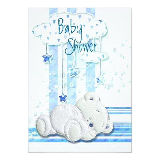 Boy baby shower teddy bear blue card