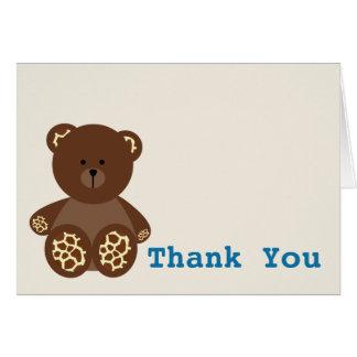 Boy Baby Shower Thank You Giraffe Print Bear Card