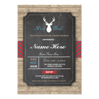 Boy Baby Shower Wood Rustic Antler Stag Invite