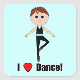 Boy Ballet Dancer: I Love Dance Square Sticker