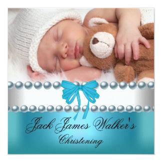 Boy Baptism Christening Boy White Blue Bow Photo Card