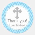 Boy Baptism Christening Communion Blue Grey Label