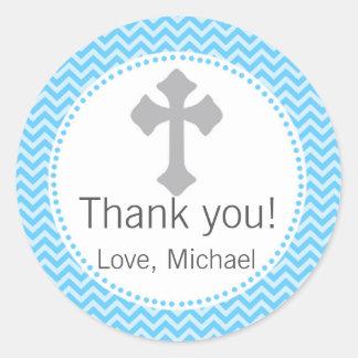 Boy Baptism Christening Communion Blue Grey Label Round Sticker