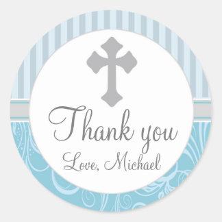 Boy Baptism Christening Stripes Floral Favor Label Round Sticker