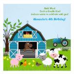 Boy Barnyard Farm Animals Birthday Invitations Personalized Invitations