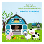 Boy Barnyard Farm Animals Birthday Invitations 13 Cm X 13 Cm Square Invitation Card