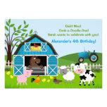 Boy Barnyard Farm Animals Birthday Invitations Card