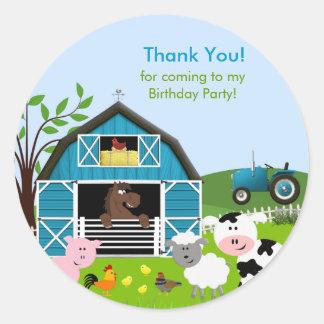 Boy Barnyard Farm Animals Birthday Party Sticker Round Sticker