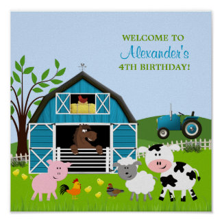 Boy Barnyard Farm Animals Birthday Poster