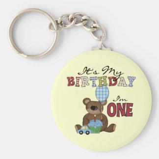 Boy Bear 1st Birthday Tshirts and Gifts Basic Round Button Key Ring