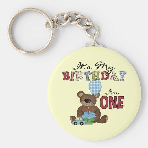 Boy Bear 1st Birthday Tshirts and Gifts Keychain