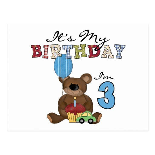Boy Bear 3rd Birthday Tshirts and Gifts Post Cards
