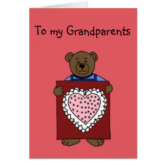 boy bear holding valentine for grandparents card