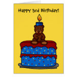 boy bear on 3rd birthday cake card