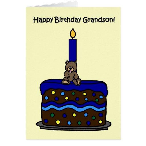 boy bear on cake grandson birthday card