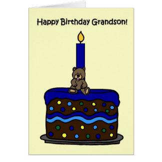 boy bear on cake grandson birthday greeting card