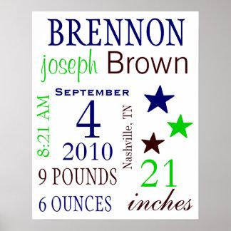 Boy Birth Stats Poster