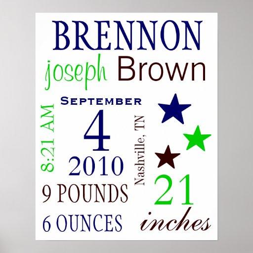 Boy Birth Stats Posters