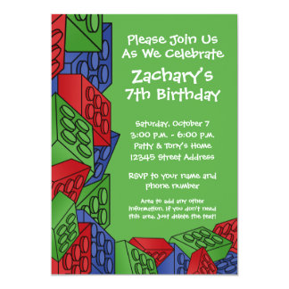 Boy Birthday Party - Building Blocks 13 Cm X 18 Cm Invitation Card