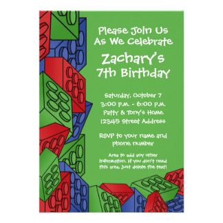 Boy Birthday Party - Building Blocks Personalized Announcement