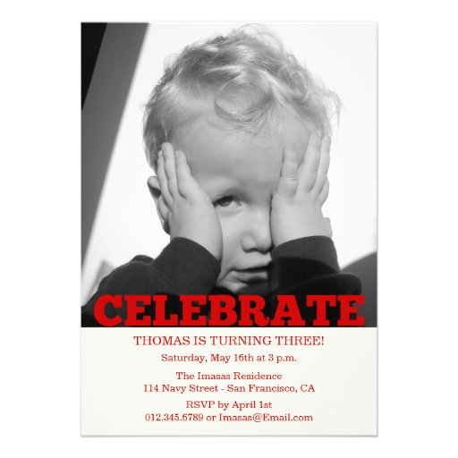 Boy Birthday Party Photo Invitations