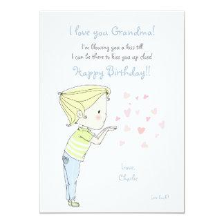 Boy Blowing a Kiss Photo Greeting Card 13 Cm X 18 Cm Invitation Card