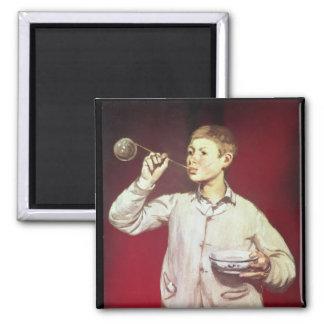 Boy Blowing Bubbles, 1867-69 Square Magnet