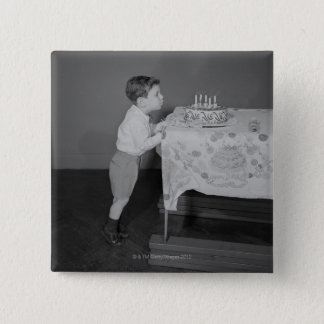 Boy Blowing Out Candles 15 Cm Square Badge
